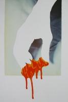 Red dog - Collage et acrylique sur papier