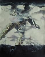 Dérive n°2, 2009 - acryl/papier imprimé, 32,5 x 25 cm